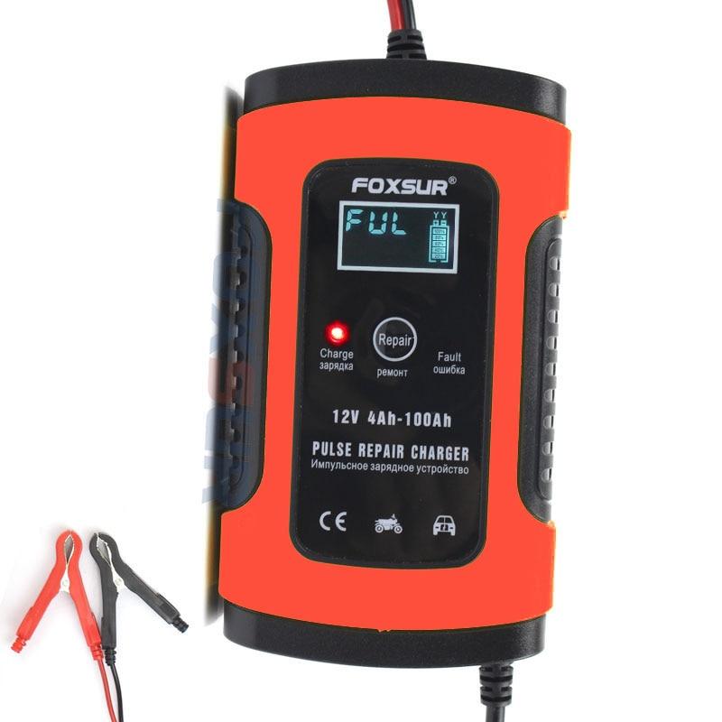 Foxsur 12 v carregador de bateria inteligente automático carro & motocicleta carregador, 12ah 36ah 45ah 60ah 100ah pulso reparação carregador lcd display