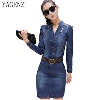 YAGENZ 2017 autumn new Female denim dress fashion Retro V collar Long sleeves Slim Cowgirl Dress Matching Belt blue Pack hip