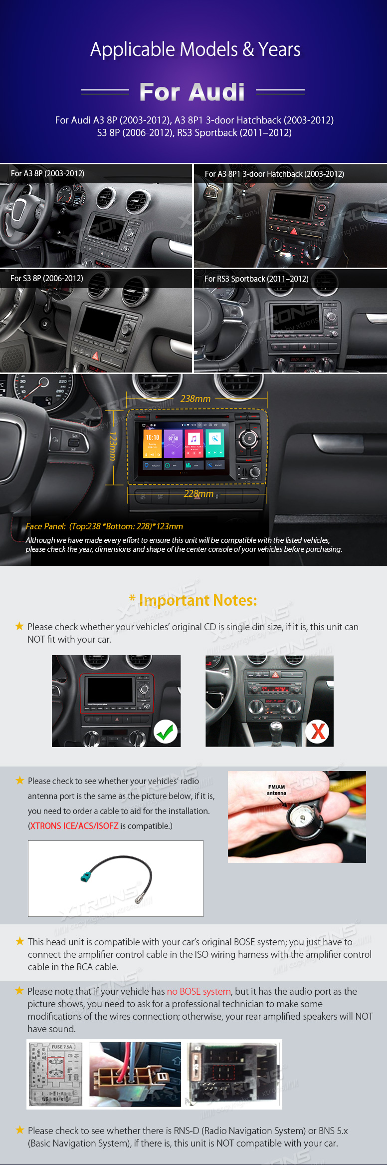 Xtrons 7 Hd Android 80 Octa Core Radio Car Dvd Player For Audi A3 Wire Harness Amp Cable Technician Pb78aa3rp 01 02 03 04