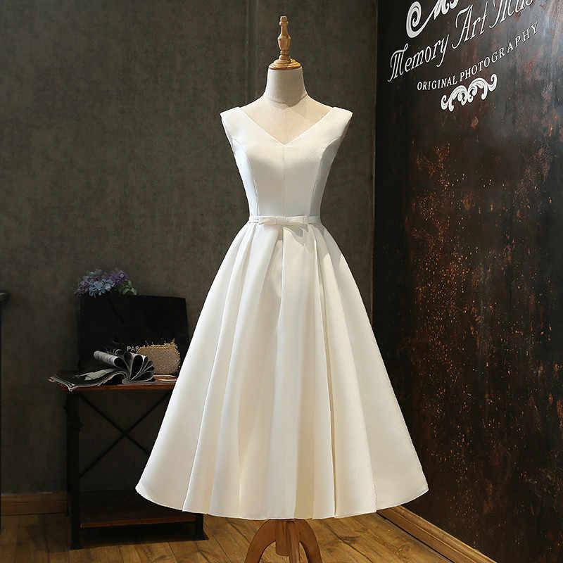 61e8ccda45831 Short V Neck Satin Wedding Dresses with Bow Tea Length Bridal Gowns 2019  Beach Wedding Gown Bruidsjurken vestido de noiva