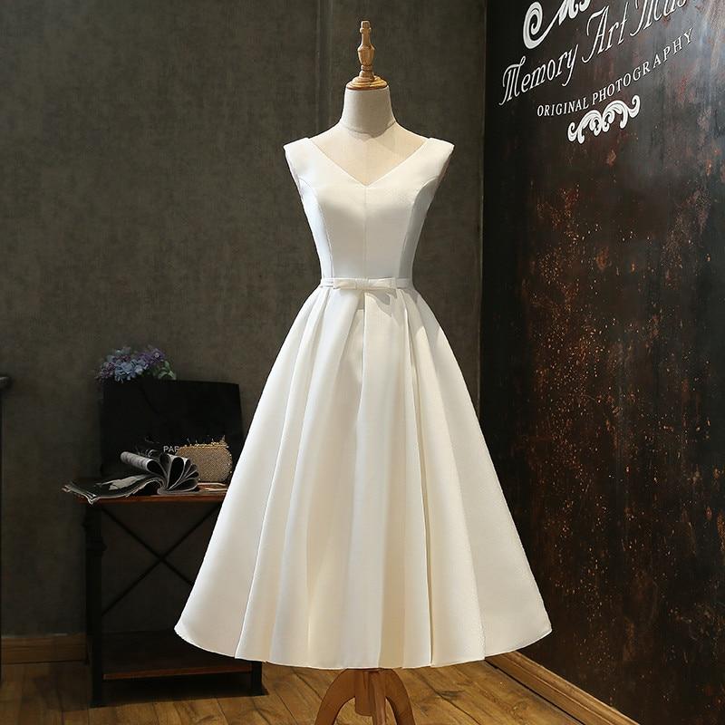 Short V Neck Satin Wedding Dresses With Bow Bridal Gowns 2020 Beach Wedding Gown Bruidsjurken Vestido De Noiva