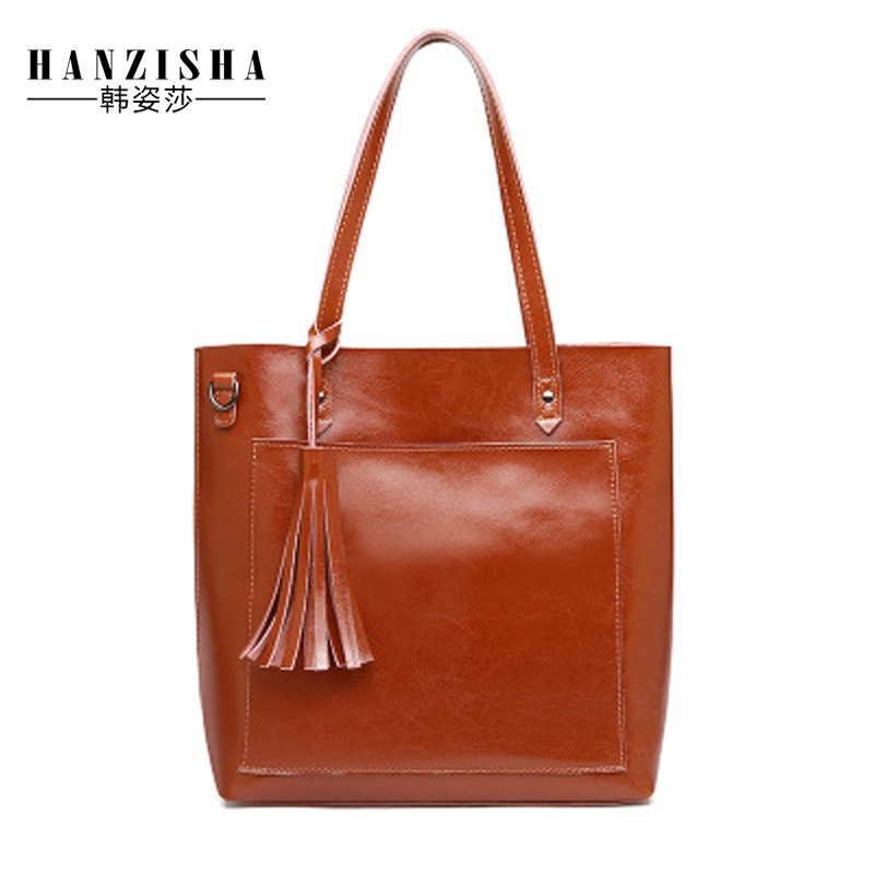 2018 New Fashion Brand Cow Leather Women Handbag Classic Tassel Design Women Shoulder Bag Large Capacity Casual Women Tote Bag 2018 esufeir brand women casual tote bag genuine leather women handbag fashion tassel shoulder bag large capacity tote women bag