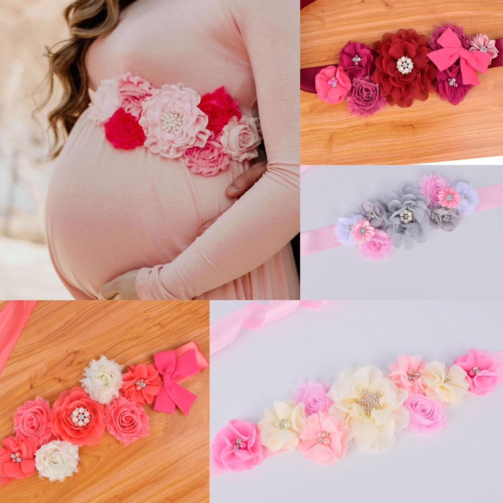 New Arrival Flower Sash Bridal Waistband Maternity Sash Baby Shower Party Photo Prop Postpartum Belly Belt Wedding Accessory