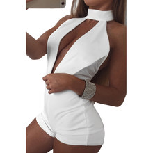 New Women Playsuit Plunge Sexy V Front Chocker High Neck Sleeveless Mesh Open Back Bodycon Night Clubwear female Overall Clothes(China)