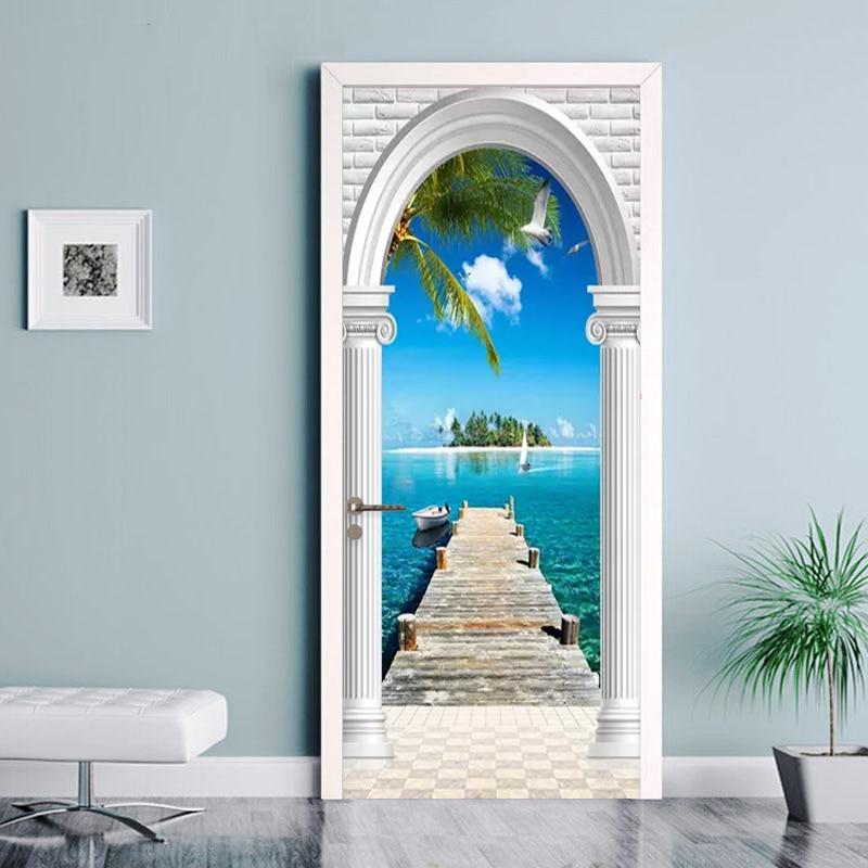 PVC Wallpaper Modern Coconut Palm Sea Photo Murals Living Room Bedroom Hotel Door Sticker Self Adhesive Waterproof Wall Paper 3D