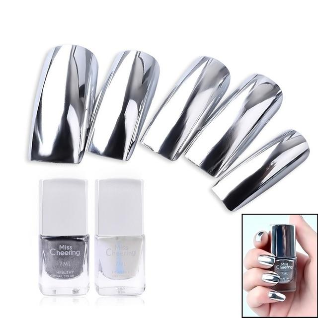 2 pc/lot 7 ml detrás plata espejo efecto metal Esmaltes de uñas ...
