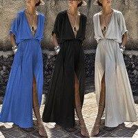 Beach Dress Vadim Dress Plus Size And 2018 Europe America Best Selling Deep V Middle Sleeve Temperament Elegant Fashion Split