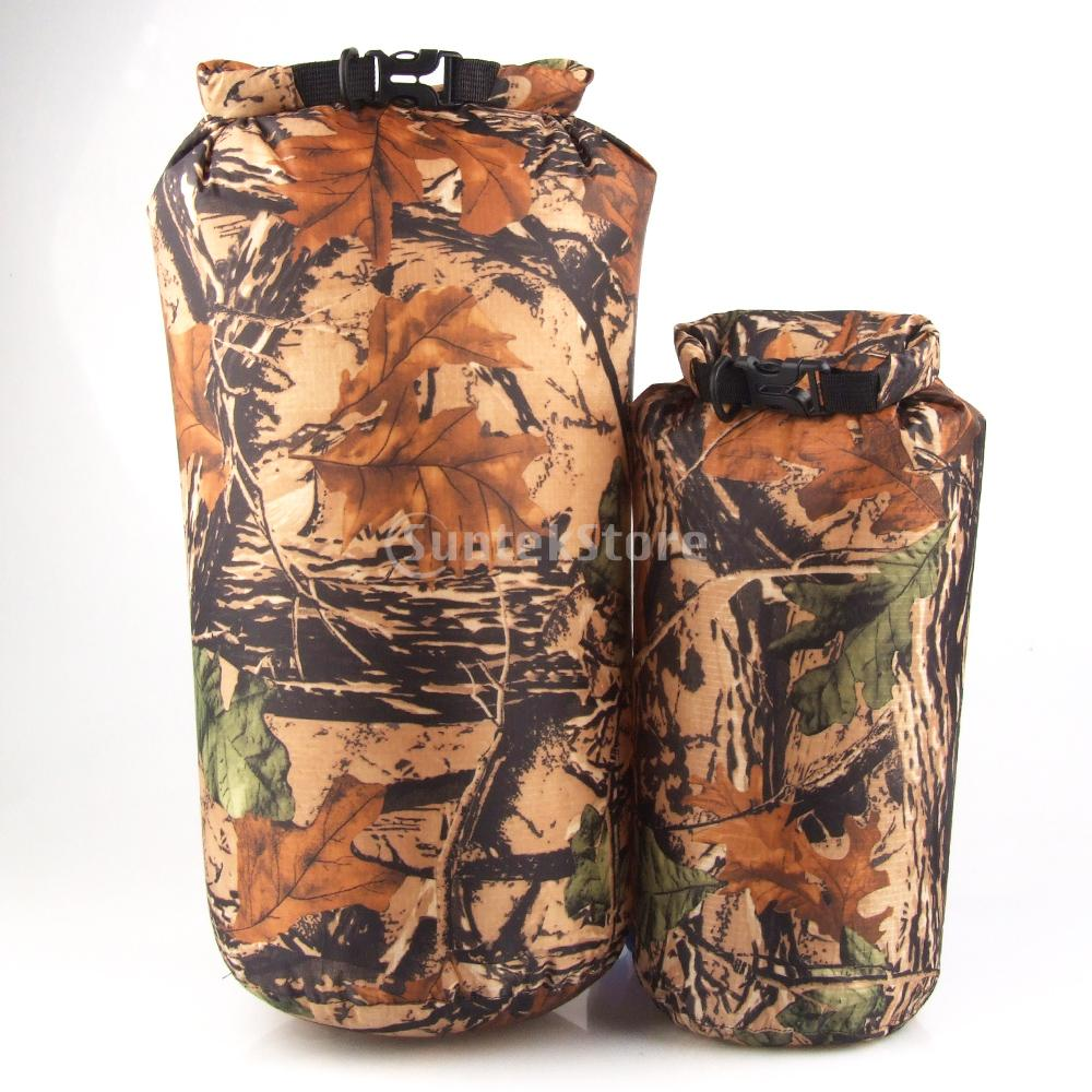 2pcs 15L & 8L Camo Waterproof Dry Sack Bag Travel Camping Hiking Kayak
