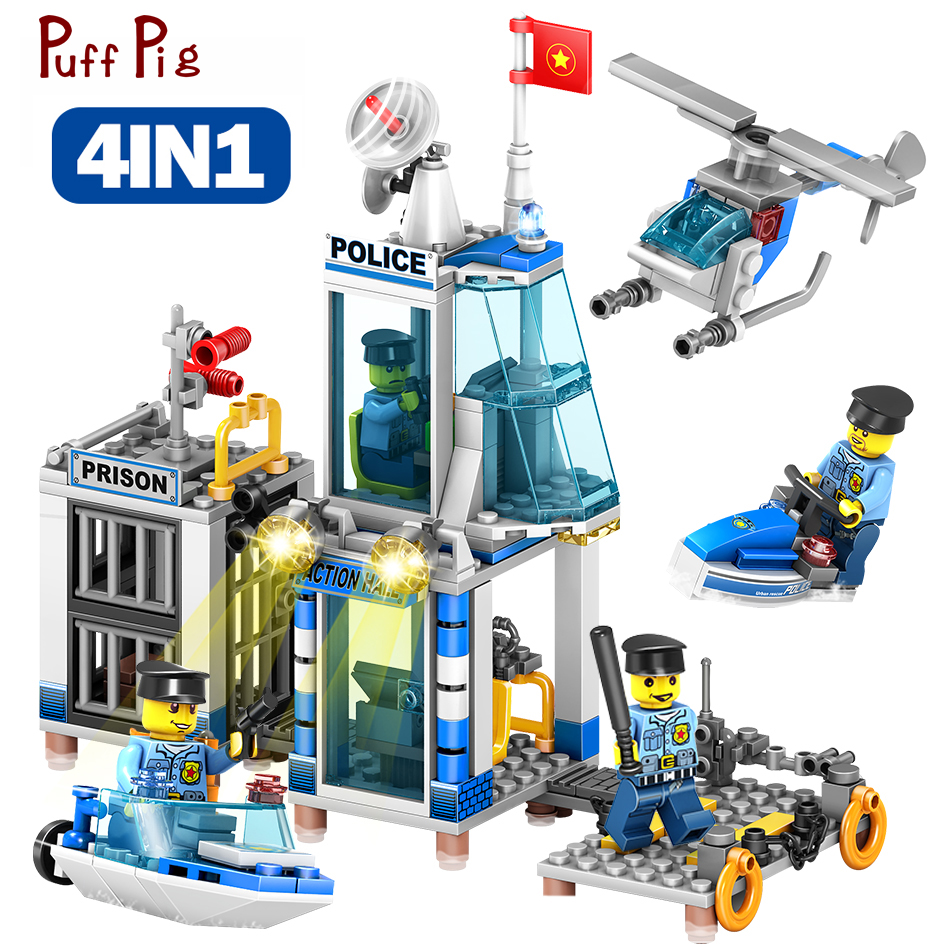 4 IN 1 Police Station Helicopter Boat Building Blocks Set Figures Compatible Legoings City DIY Construction Bricks Toys For Kid new city police station fit legoings city police station swat figures building blocks bricks kids boys diy toys 60141 gift kid