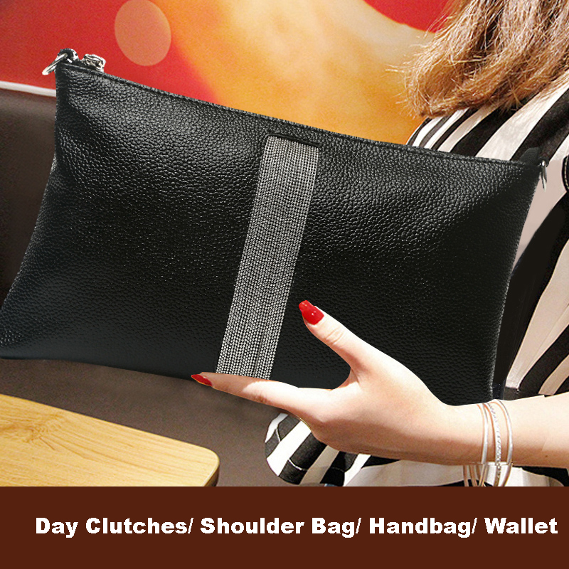2017 New Genuine Leather Female Handbag Large Capacity Wallet Women Famous Brand Bridal Black Shoulder Bag