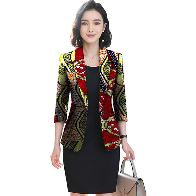 African festival fashion print women slim blazers elegant design style tops dashiki casual suit africa clothing 2