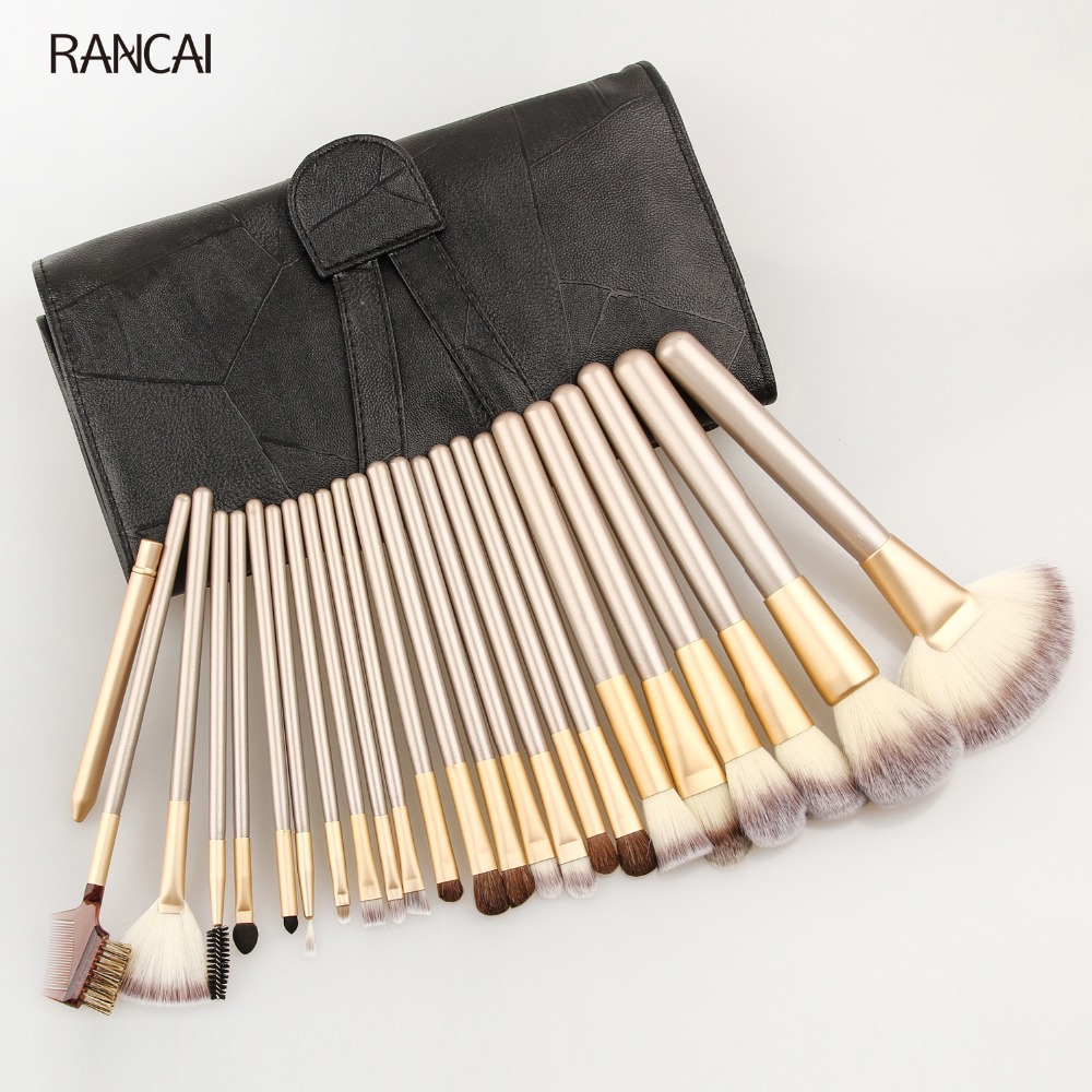 RANCAI Professional 12/18/24pcs Makeup Brushes Set Soft Cosmetic Make Up Tools Foundation Powder Blush Eyeliner Brush with Bag professional 24pcs set champagne makeup brushes powder foundation blush brush high quality cosmetic make up tools kits with bag