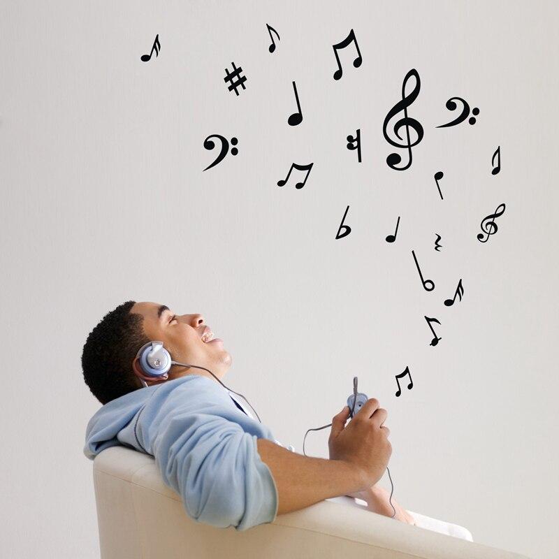 Ξ20pcs/lot DIY music notes wall decals sticker ,removable vinyl wall ...