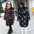 2016 новых детских зимнее пальто большой девственный теплая куртка девушки пентаграмма шаблон пальто малыш толстая хлопка-проложенный верхней одежды оптовая продажа