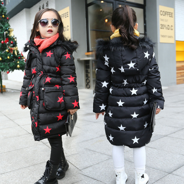 2016 New Children's winter coat big virgin cotton warm jacket girls pentagram pattern coat kid Thick Padded Outwear wholesale