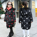 2016 nuevos niños de invierno de las grandes vírgenes algodón caliente de la chaqueta de las muchachas del patrón del pentagram del cabrito capa gruesa acolchada Outwear venta al por mayor