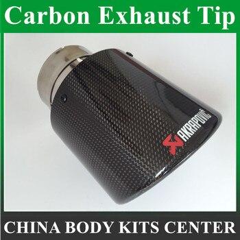 Gratis Pengiriman: 1 Piece Di 63 Mm 114 Mm 1 Pcs Akrapovic Glossy Karbon Knalpot Tips untuk Benz Audi Karbon Exhaust akhir Ekor Tips