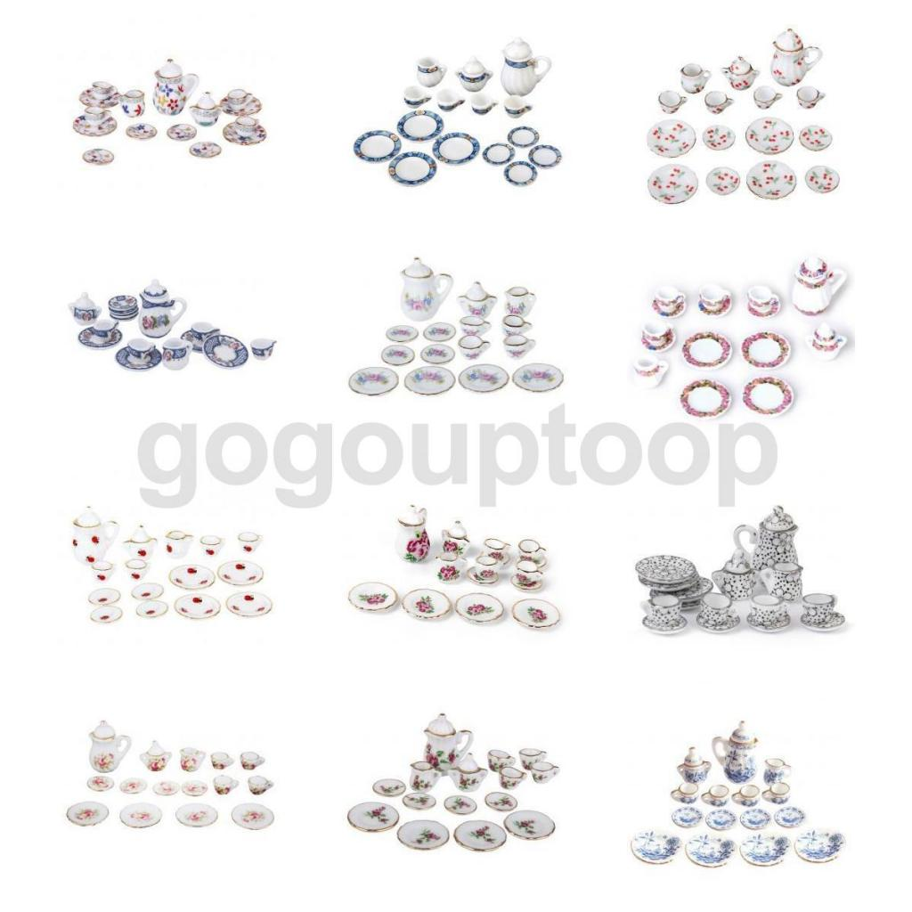Magideal 15Pcs/Lot Dollhouse Miniature Dining Ware Porcelain Tea Set for Dolls House Kit ...