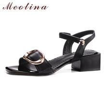 Meotina Genuine Leather Shoes Women Sandals Summer Buckle Thick Heel Sandals Cow Leather Office Lady Shoes Black White Size34-43