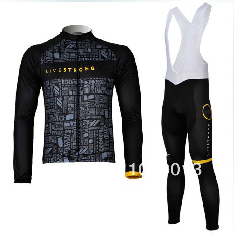 2012 winter bicycle clothes livestrong black thermal fleece long sleeve  cycling jersey 05c9a8419