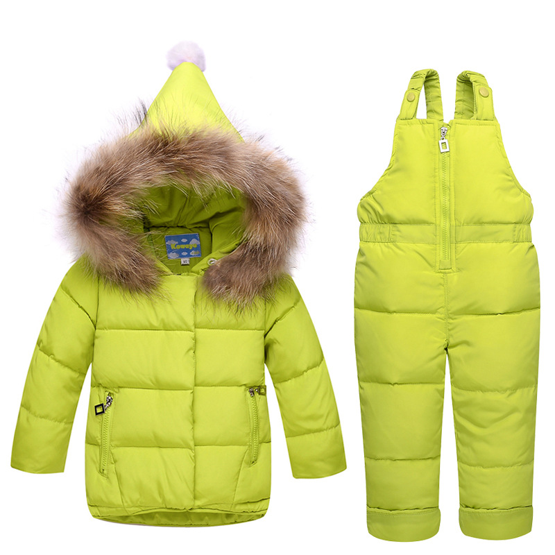 Baby Warm Down Jacket Girls Winter Kids Clothes Suit Set Children Thick Coat+Jumpsuit For Boys Down Coats Baby Hooded Outerwear new 2017 winter baby thickening collar warm jacket children s down jacket boys and girls short thick jacket for cold 30 degree
