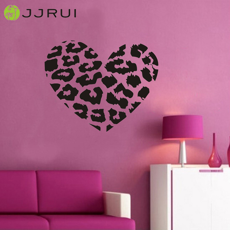 JJRUI Leopard Spot Heart Vinyl Wall Decal Sticker Leopard Print DIY Decor  Home Decoration For Bedrooms