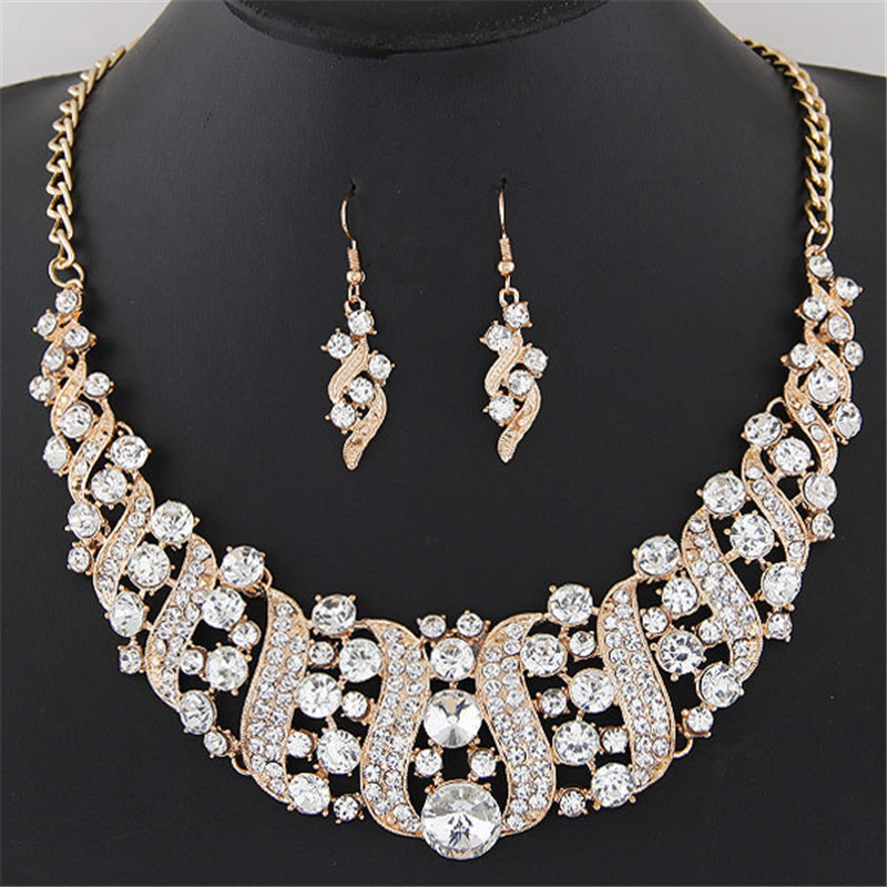 1 Set Women's Girl Guldfärg Rhinestone Crystal Chain Necklace Choker Statement Dangle Drop Earrings Smycken Set collier Party