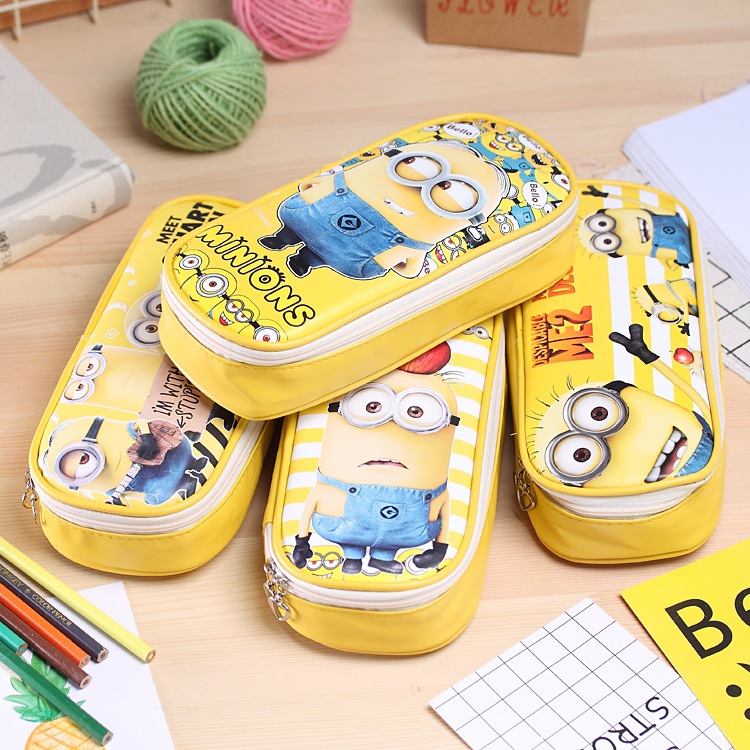 Minions Leather pencil bag Big capacity zipper cute school pencill case for girls kawaii Stationery office school supplie kawaii small fresh canvas zipper pencil cases kawaii dot fashion for women school supplie stationery bag