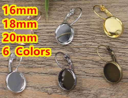 Cabochon 16mm,18mm,20mm Antique Bronze/Gold/Silver/Black French Copper Earring studs cameo,earrings base setting stud mibrow 10pcs lot stainless steel 8 10 12 14 16 18 20mm blank french lever earring tray cabochon setting cameo base jewelry