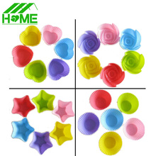 12 PCS/Set Cake Cup Kitchen Tool Craft Colour Works Silicone Cupcake Cases Forma De silicone Cake Decorating Accessories Tools