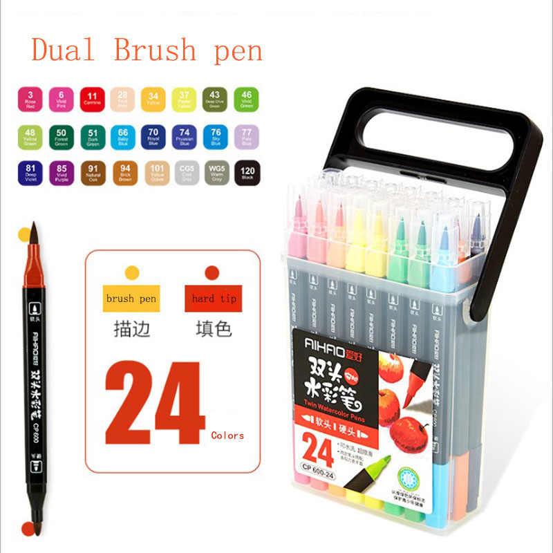 24 Màu Cao Cấp Đen-cực Hai Đầu Mark Bộ Bút Nghệ Thuật Cung Cấp nhiều màu sắc Chống Nước Bút Vẽ Copic bút đánh dấu