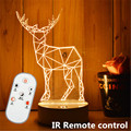 2016 remote control dimmable 3D lamp LED Night Light 3D illusion night lamp USB table desk lamp home lighting Christmas gift