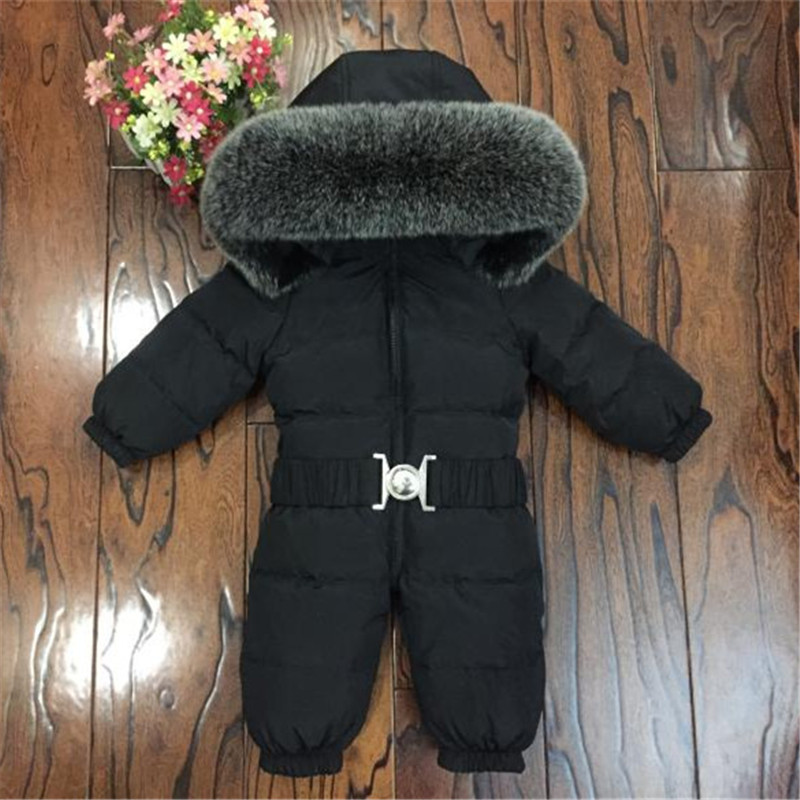 Children Winter Rompers Natural Fur Kids Down Jumpsuits Toddler Boys Girls Overalls Infant Baby Clothes Clj032 winter baby rompers bear girls boys clothes hooded baby boys rompers cotton padded jumpsuits infants kids winter clothes