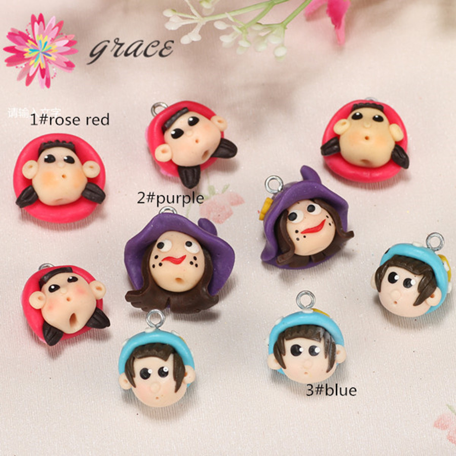 8pcs/lot 20mm Cute Fimo Polymer Clay Toys Doll Baby Figure For Pottery Mobile Key Chain Ornament Kids Necklace Pendant Materials