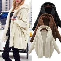 Women Autumn Hoodies Sweatshirt Faux Fur Coat Jacket Plus Size Casual Hooded Coat Warm Outerwear Long Sleeve Top Female Traksuit