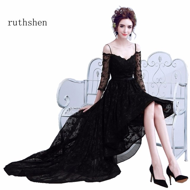 ruthshen 2018 New Cheap Off The Shoulder Black High Low Lace Long Evening  Dresses Ready To Ship With Appliques 8dc750f4aa3c
