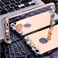 Mirror Soft TPU Case With Bling Crystal Rhinestone Gradient Color Case Cover For Samsung Galaxy S8
