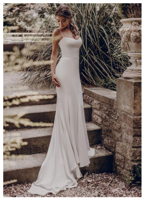 LORIE Spandex Beach Wedding Dress 2019 Elegant Spaghetti Straps White Ivory Mermaid/Trumpet Bride Dress Train Wedding Gowns