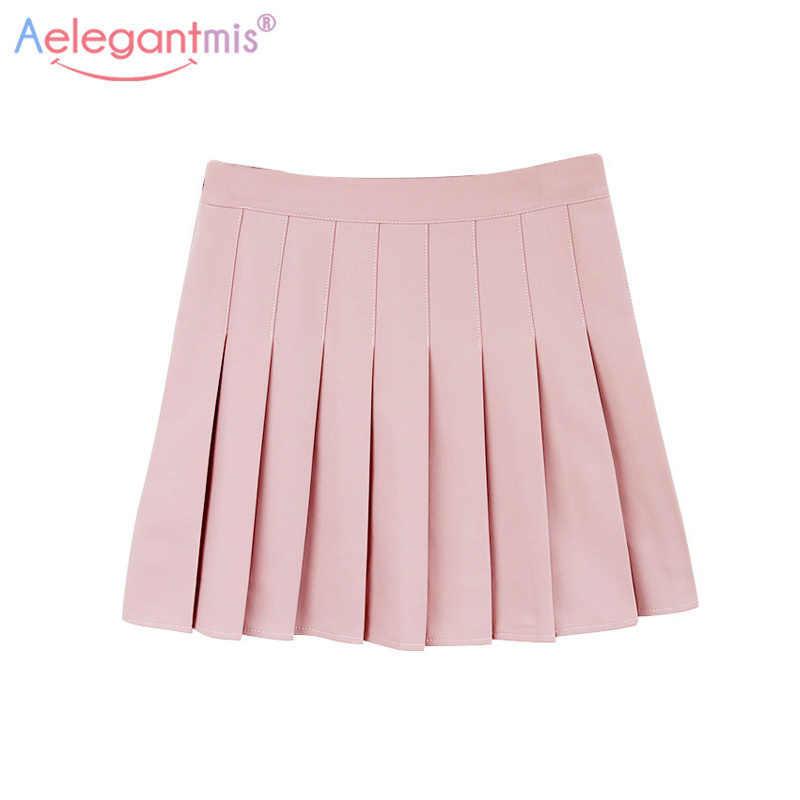 9701268e982 Aelegantmis Sweet Lolita Denim Pleated Skirt Women Cute High Waist Mini A- line Sailor Skirt