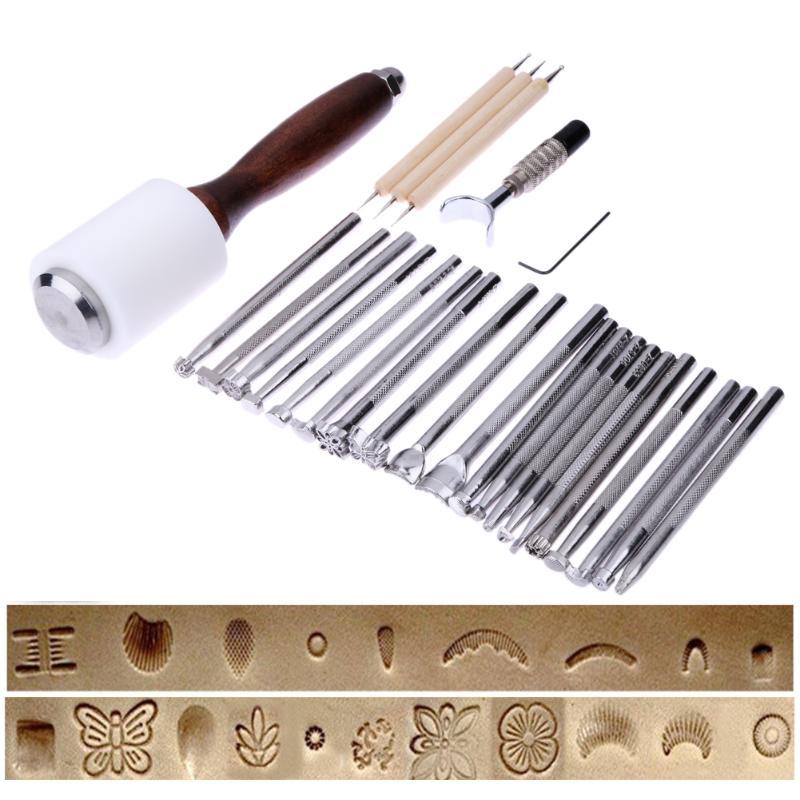 25 Pcs/ensemble En Cuir En Acier Inoxydable Sculpture Timbres Marteau Beveler Kit DIY Leathercraft Outils À Main En Cuir En Relief