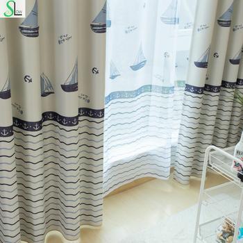 Langsam Seele Wenig Segelboot Segeln Kinderzimmer Vorhang Französisch  Fenster Cartoon Tüll Vorhänge Für Wohnzimmer Küche Schlafzimmer Stoffe
