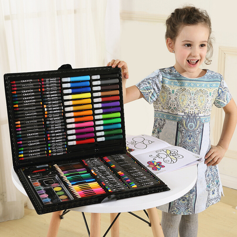 MINOCOOL 168 PCS Rollerball Pen/ Colorful Pencil/ Wax Crayon and Oil Painting Brush Children Drawing Tool Set Art Drawing Toys