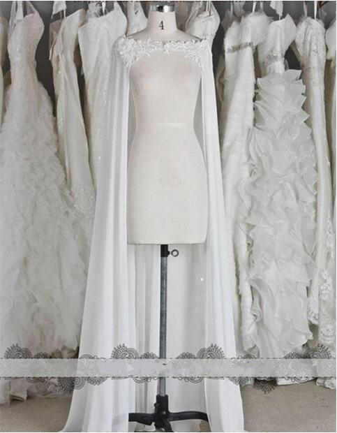 Lace Shoulder Chiffon Shawl Bride Jacke Wedding Cape Evening Cloak