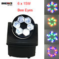 Fast Shipping LED Beam Light 6x15W Bees Eyes RGBW 4IN1 Wash LED Moving Head Light 11/14 Channels Master/Slave DMX512 Good For DJ