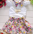 3pcs Baby Girls Toddlers Necklace+Top+Skirts Flower Outfits Summer Clothes Sets