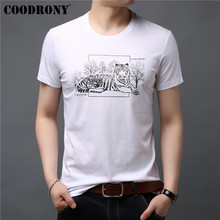 COODRONY Cotton T Shirt Men Short Sleeve T-Shirt Summer Casual O-Neck Tee Homme Chinese Painting Mens T-Shirts S95049