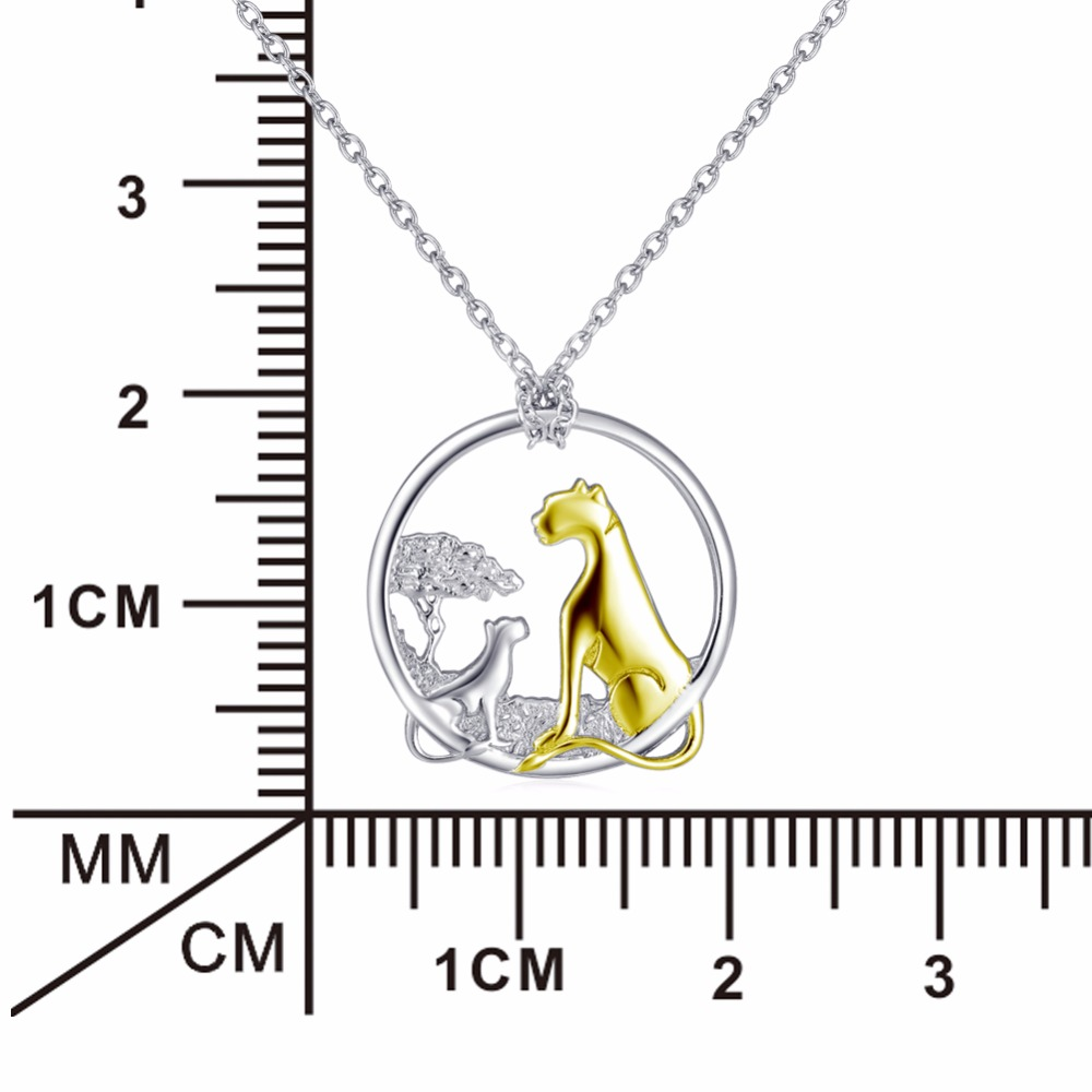 925 Sterling Silver Necklace Leopard Mother Child Pendants Necklaces Fashion Family Jewelry Christmas Gift For Women GNX11974 in Pendant Necklaces from Jewelry Accessories