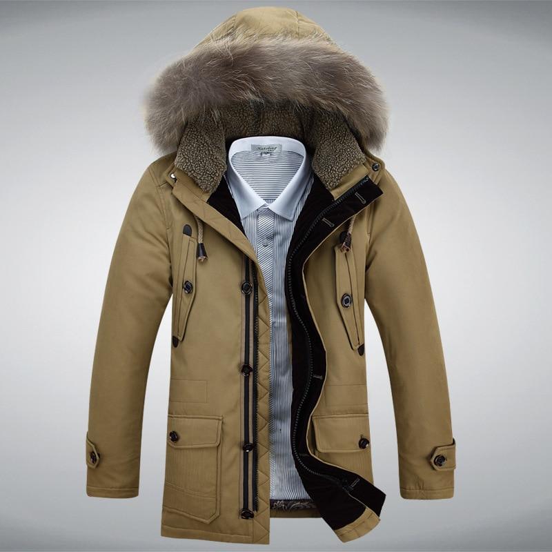 2018 Winter New Thick Warm Men   Down   Jacket Big Fur Collar Hooded   Down     Coats