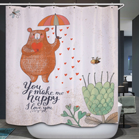 Smiry Cartoon Animal Polyester Waterproof Shower Curtain Cute Bear Bee Dragonfly Plant Flower Heart Fabric Bathroom