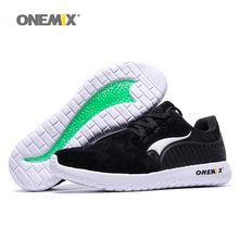 ONEMIX Man Running Shoes For Men Nice Retro Suede Run Athletic Trainers Black PigSkin Sports Shoe Outdoor Walking Sneakers